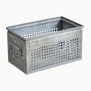 Perforated Vintage Metal Storage Crate Large Holes