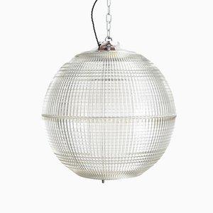 XL French Holophane Globe Pendant Light