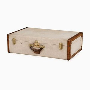 Antique French Fabric and Leather Trunk from Hermès, 1900s