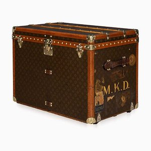 Vintage French Monogrammed Fabric Trunk from Louis Vuitton, 1930s