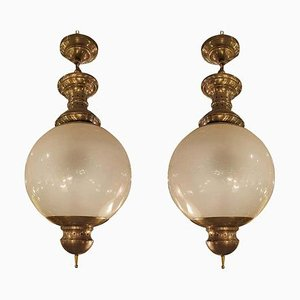 Mid-Century Brass and Glass Chandeliers by Luigi Caccia Dominioni for Azucena, 1960s, Set of 2