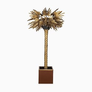 Large Vintage French Palm Tree Floor Lamp from Maison Jansen, 1970s