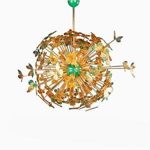 Large Vintage Handmade Venetian Glass Butterfly Sputnik Chandelier