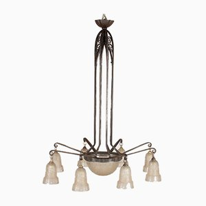 Art Deco Ceiling Lamp from Hettier et Vincennes, 1920s