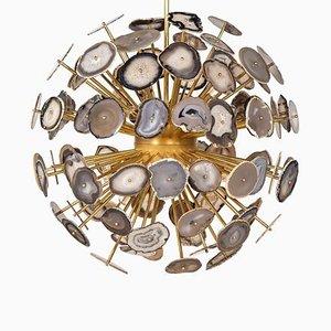 Lámpara de araña Sputnik italiana vintage grande de ágata