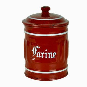 Brown Enameled Metal Flour Pot, 1940s