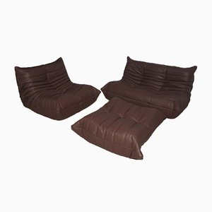 Leather Madras Togo Living Room Set by Michel Ducaroy for Ligne Roset, 1970s, Set of 3
