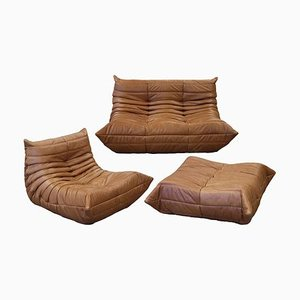 Tobacco Brown Leather Togo Living Room Set by Michel Ducaroy for Ligne Roset, 1970s, Set of 3