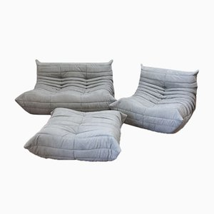 Light Grey Microfiber Togo Living Room Set by Michel Ducaroy for Ligne Roset, 1970s, Set of 3
