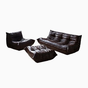 Vintage French Dark Shiny Brown Togo Living Room Set by Michel Ducaroy for Ligne Roset, Set of 3