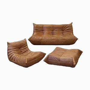 Vintage French Tobacco Brown Leather Togo Living Room Set by Michel Ducaroy for Ligne Roset, Set of 3