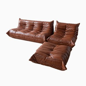 Vintage French Whiskey Brown Leather Togo Living Room Set by Michel Ducaroy for Ligne Roset, Set of 3