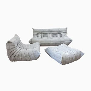 Vintage French Grey Light Microfiber Togo Living Room Set by Michel Ducaroy for Ligne Roset, Set of 3
