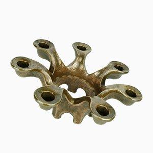 Mid-Century Brutalist Bronze 7-Arm Candleholder