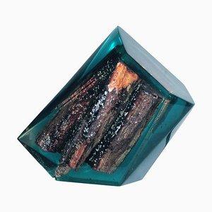 Led beleuchtete Skulptur aus Gusseisen und Massivholz, 2000er