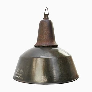 Vintage Industrial Brown Enamel Factory Pendant Lamp