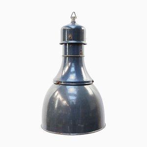 Lampe à Suspension d'Usine Vintage Industrielle en Émail Bleu