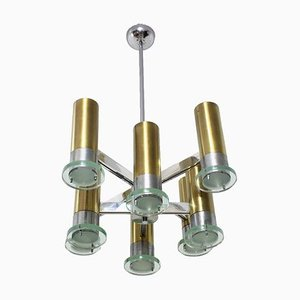 Mid-Century Glass Chandelier from Sciolari, 1970s