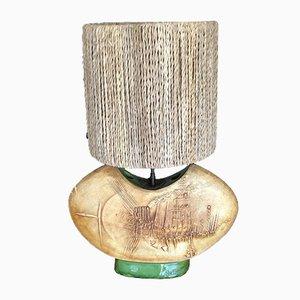 Lampe de Bureau avec Abat-Jour en Corde par Gilbert Portanier pour Vallauris, 1960s