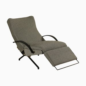 Vintage Armlehnstuhl aus Metall und Stoff von Osvaldo Borsani für Tecno, 1950er