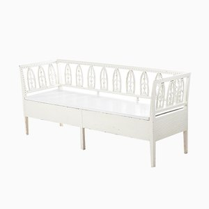 Antique Gustavian Swedish Bench with Subtle Gilding