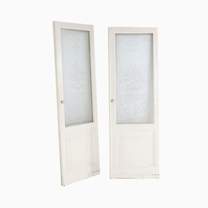 Antique Dutch Belle Époque Doors with Floral Etched Glass, Set of 2