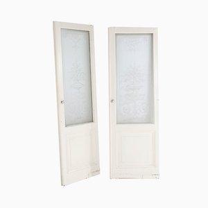 Portes Belle Époque Antique avec Verre Gravé, Set de 2