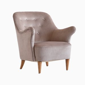 Swedish Taupe Velvet and Elm Armchair by Elsa Gullberg, 1930s