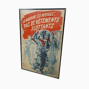 Vintage Framed Poster from l'Organisme Professionnel de Sécurité du Bâtiment et des Travaux Publics, 1940s