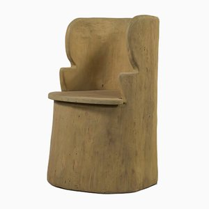 Scandinavian Modern Sculptural Hand-Crafted Varnished Pine Wood Armchair