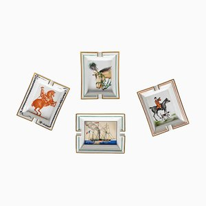 Mid-Century French Equestrian Ashtrays from Hermès, Set of 4