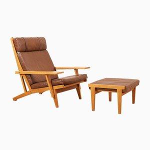 Juego de sillón y otomana modelo GE-375 vintage de Hans J. Wegner para Getama, años 60