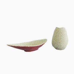 Deutsche Keramik Schale und Vase von Jasba, 1950er, 2er Set