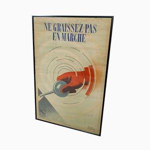 Vintage Framed Poster by Paul Colin for l'Organisme Professionnel de Sécurité du Bâtiment et des Travaux Publics, 1940s