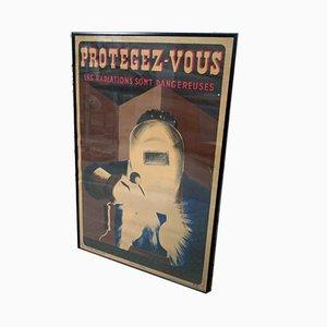Gerahmtes Vintage Poster von l'Organisme Professionnel de Sécurité du Bâtiment et des Travaux Publics, 1940er