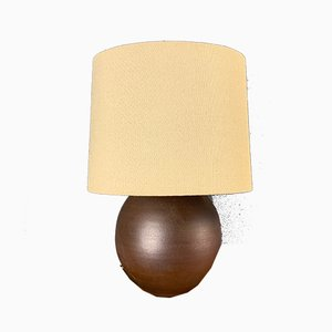 Brown Ceramic Spherical Table Lamp, 1960s