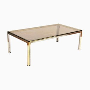 Italian Brass, Steel, and Smoked Crystal Coffee Table from Romeo Rega, 1970s