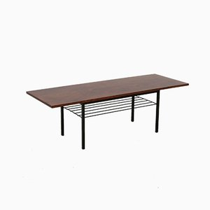Mid-Century Rosewood and Metal Base Coffee Table, 1960s