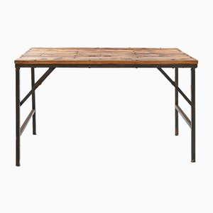 Wooden Folding Table with Iron Legs