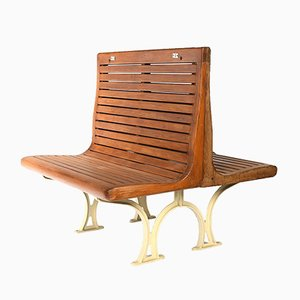 Double Bench Sprague in Varnished Wood from the Parisian subway, 1940s
