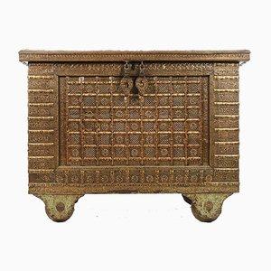 Antike Kommode aus Holz mit Beschlägen aus Stahl & Messing, 1840er