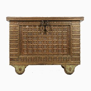 Antique Wood Chest with Steel and Brass Fittings, 1840s
