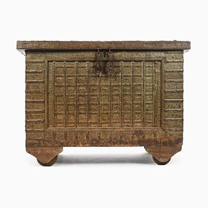 Wooden Chest with Steel Veneer and Green Patina, 1840s