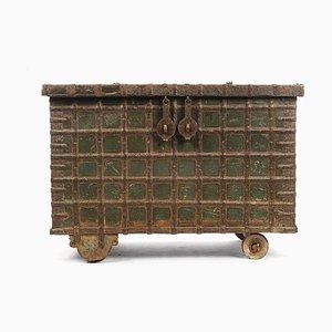 Holzkommode mit Stahlfurnier und Grüner Patina, 1840er