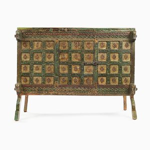 Indian Green Patina Wood Chest, 1850s