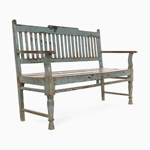 Wooden Bench in Blue Patina