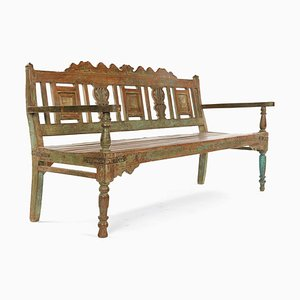 Bench in Carved Wood with Patina