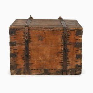 Wooden Chest with Metal Fittings and Handles