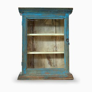 Small Wooden Showcase with Blue Patina