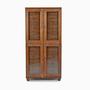 Wooden Cabinet with 20 Drawers and Glass Door